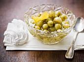 Stewed mirabelle plums