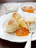 Quark dumplings with apricot jam