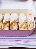 Topfenpalatschinken (Sweet filled pancakes)