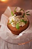 Cupcake with prawn salad