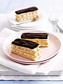 Chocolate and vanilla slices