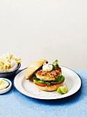 Fish and bean burgers with mayonnaise
