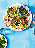 Salmon nicoise with olive vinaigrette