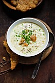 Cheese and onion soup with croutons
