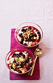 Yoghurt with muesli and blueberry compote