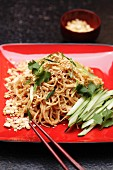 Cold sesame noodles in peanut sauce