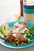Mexican enchiladas on plate