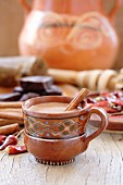 Mexican hot chocolate with cinnamon and chilis