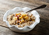 Oats with butter, milk and fruit