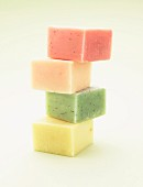 Colorful home-made bars of soap