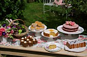 A cake buffet in a sunny garden