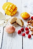 Butterscotch, mango and raspberry tartlets and ingredients