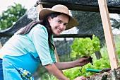 Woman planting lettuce