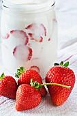 Plain yoghurt in a jar with fresh strawberries