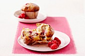 White chocolate and raspberry muffins for Valentine's Day
