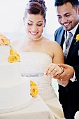 Multi-ethnic bride and groom cutting cake