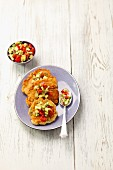Sweetcorn pancakes with avocado salsa