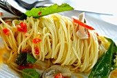Spaghetti with chillies and Thai basil