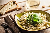 Trofie al pesto (pasta with basil sauce, Italy)