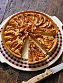 An apple tart, sliced
