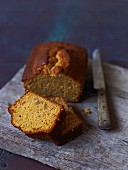 Ginger cake, partly sliced