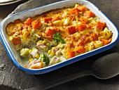 Haddock gratin with sweet potatoes and broccoli