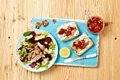 Beetroot salad with smoked mackerel, ciabatta with smoked mackerel, and tomato salsa