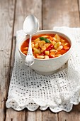 Vegetable soup with beans and chillies