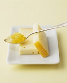 Mountain cheese and a spoon of fig mustard