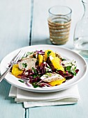 Radicchio salad with chicken and oranges