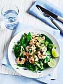Prawns with ginger and mange tout