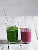 Herb smoothie and blackberry smoothie