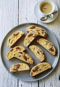 Almond biscotti with milk chocolate, served with coffee