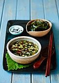Miso soup with spring onions (Japan)