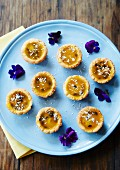 Mini tartlets with passion fruit and coconut