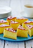 Several slices of polenta cake from Greece