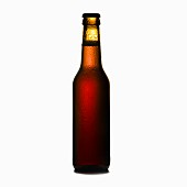 Chilled Beer Bottle on White Background