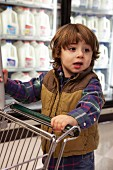 A little boy with a shopping trolley in a supermarket