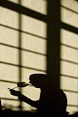 Schatten von einer Person bei der Weinprobe in der Maison du Vin von Saint-Emilion, Gironde, Frankreich