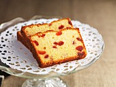 Three slices of gluten-free almond & cherry cake