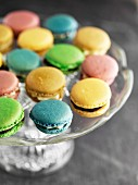Gluten-free macaroons on a cake stand