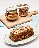 Turkey aspic with vegetables and peas