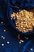 Chana Dhal (yellow lentils) in a blue silk sari
