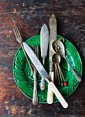 Vintage cutlery on a green Victorian plate