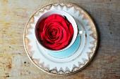A red rose inside a blue and gold patterned vintage teacup
