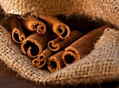 Cinnamon Sticks in Burlap Sack, Close-Up