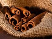 Cinnamon Sticks in Burlap Sack, Close-Up