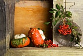An arrangement of turban squash and rowan berries