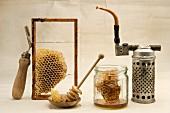 Honey and beekeeper's tools