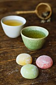 Mochi (rice cakes, Japan) with jasmine tea